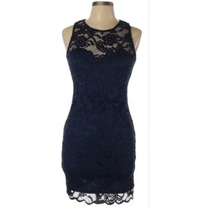 Charlotte Russe Sleeveless Lace Mid Length Dress